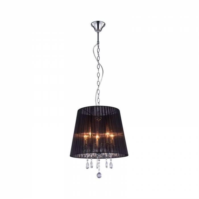 Lustră pendul Maurita, 110x40x40 cm, metal/ material textil/ plastic, negru/ crom