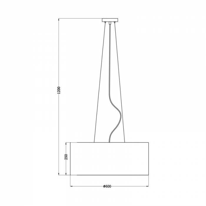 Lustră pendul Melaine, 120x60x60 cm, metal/ material textil, negru