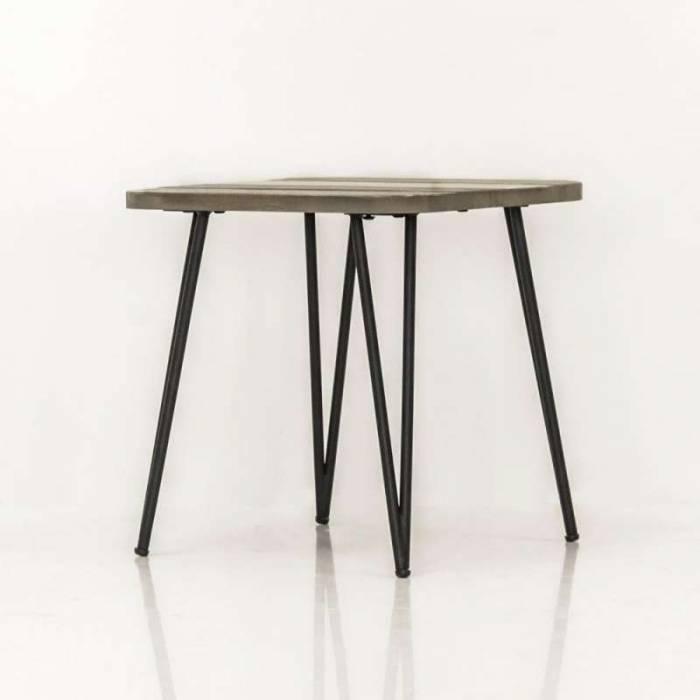 Măsuță de cafea Beth pătrată, 50x50x50 cm, lemn de acacia/ mdf/ metal, gri/ negru