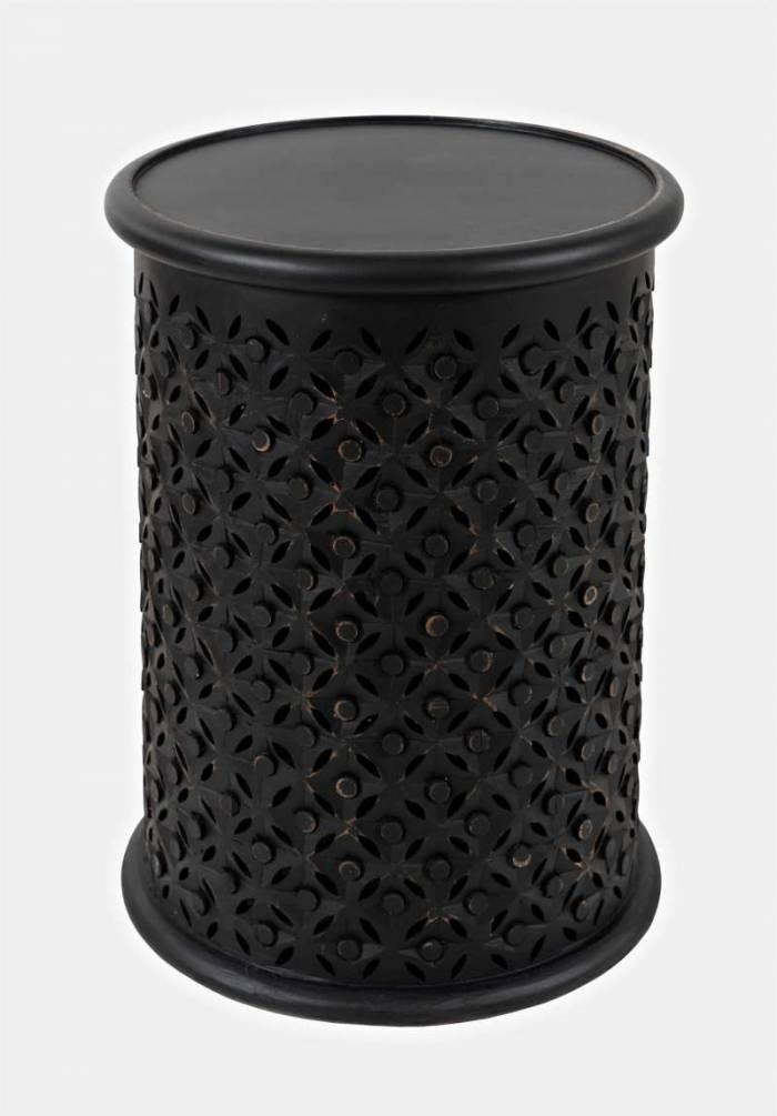 Măsuță de cafea Karan cilindrică, 59x43x43 cm, lemn de mango, negru