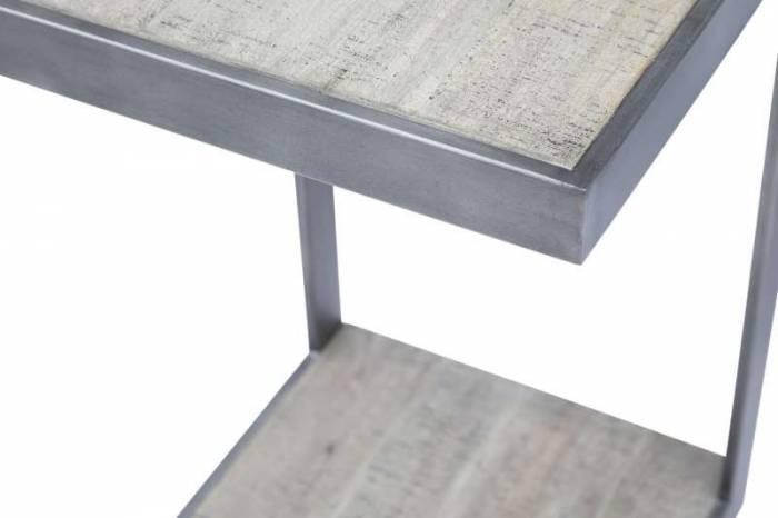 Măsuță laterală Karan , 61x38x38 cm, lemn de acacia/ otel inoxidabil, gri