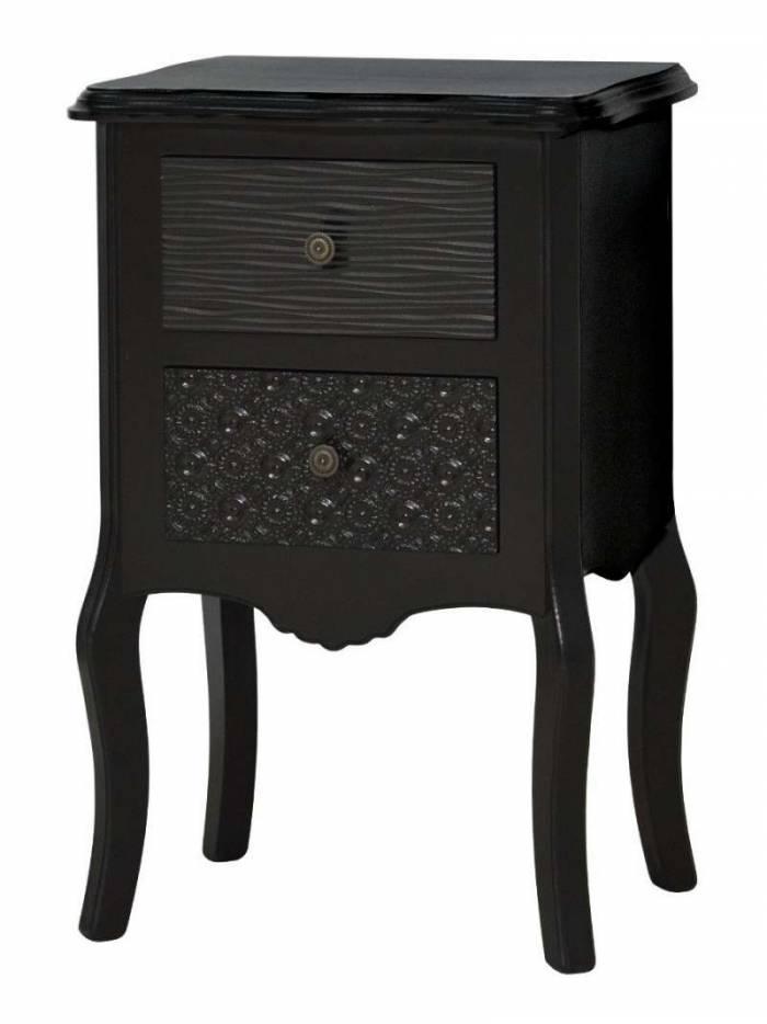 Noptieră cu două sertare Gonzalo, 65x43x32 cm, mdf, negru