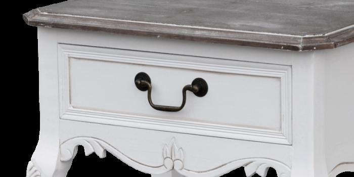 Noptieră cu sertar Berenice, 70x47x36 cm, lemn de plop/ mdf/ metal, alb/ maro
