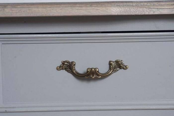 Noptieră cu sertar Gina , 70x48x35 cm, lemn de plop/ mdf/ metal, gri/ maro deschis