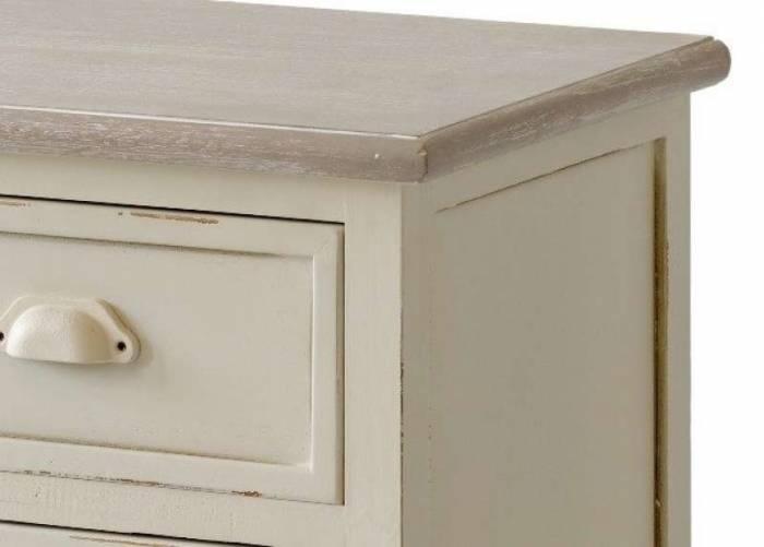 Noptieră cu trei sertare Cleopatra, 65x47x34 cm, lemn de plop/ mdf/ metal, crem/ maro deschis
