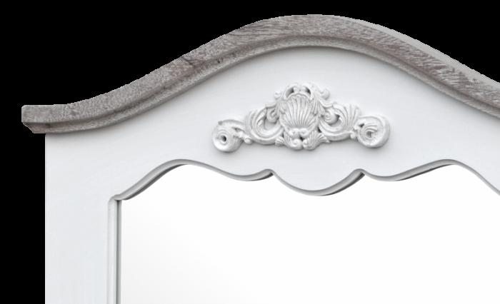 Oglindă de perete Berenice, 85x60x4 cm, lemn de plop/ mdf, alb/ maro