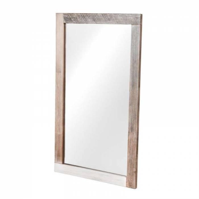 Oglindă de perete Beth, 70x120x3 cm, lemn de acacia/ mdf/ metal, gri/ negru