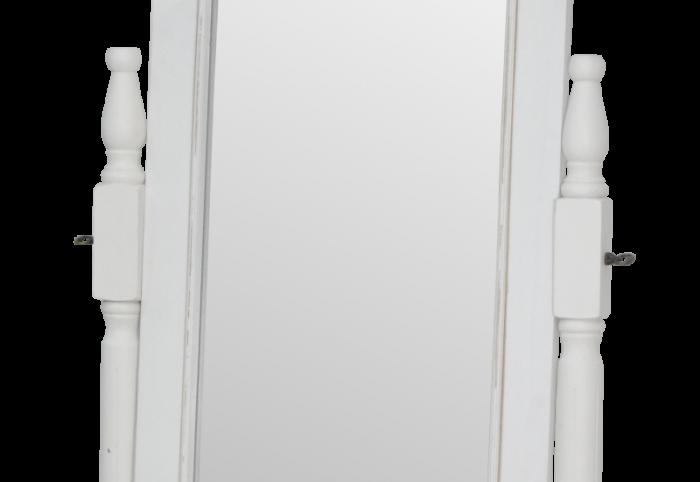 Oglindă de podea Collin, 160x50x50 cm, lemn de plop/ mdf/ metal, alb/ maro
