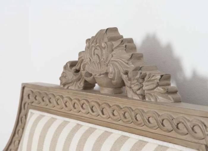 Pat dublu Dominica cu model , 154x162x211 cm, lemn de mesteacan/ material textil, bej/ crem