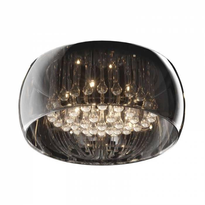 Plafonieră cu șase becuri Melvina, 22x50x50 cm, sticla/ metal/ cristal, transparent/ crom