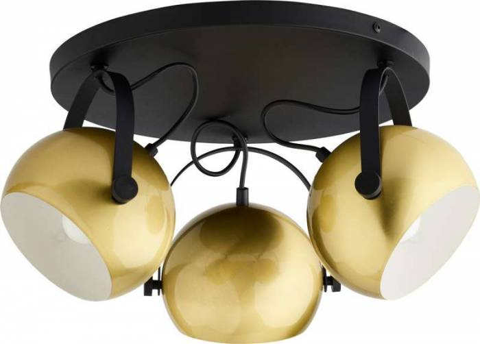 Plafonieră rotundă cu trei brațe Tobi, 25x48x48 cm, metal, auriu/ negru