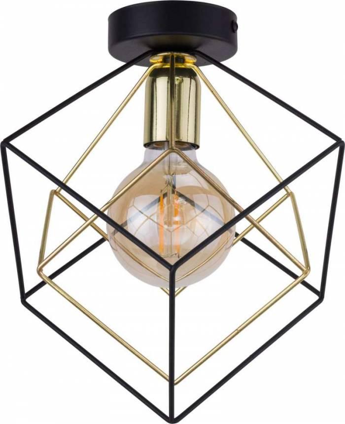 Plafonieră Truman, 30,5x28x28 cm, metal, auriu/ negru