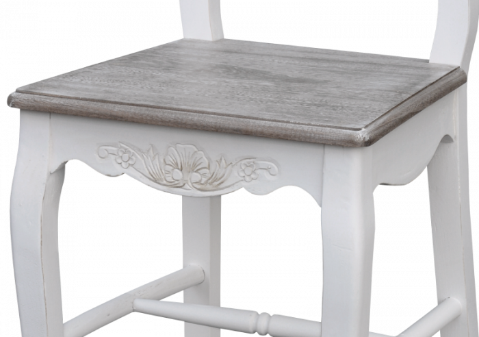 Scaun bistro Berenice, 95x44x52 cm, lemn de plop/ mdf, alb/ maro