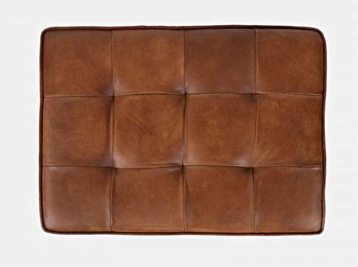 Scaun fără spătar Karan, 47x51x36 cm, metal/ piele, negru/ maro