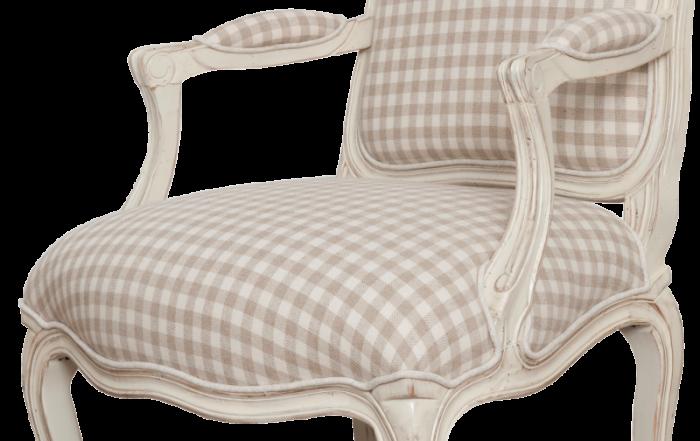 Scaun living Albertine cu model, 95x64x69 cm, lemn de mesteacan/ material textil, ivoire