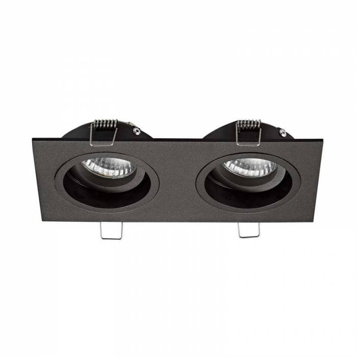 Spot dublu Modesto, 3,8x19x9,2 cm, aluminiu, negru