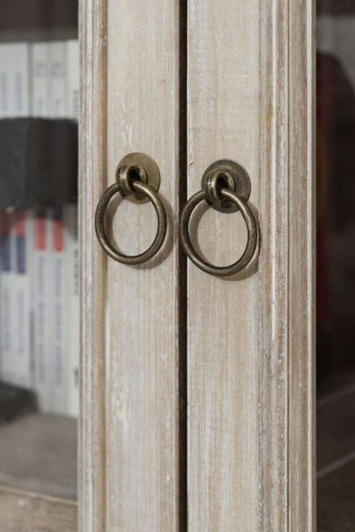 Vitrină cu sertar și două uși Gilbert , 160x76x35 cm, lemn de plop/ mdf/ furnir/ metal, maro deschis