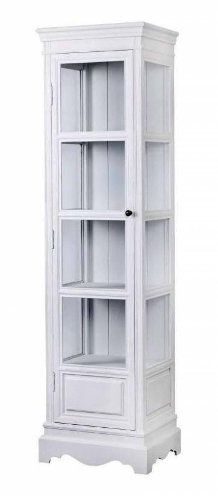 Vitrină cu ușă Alexander , 180x49x39 cm, lemn de plop/ mdf/ metal, alb