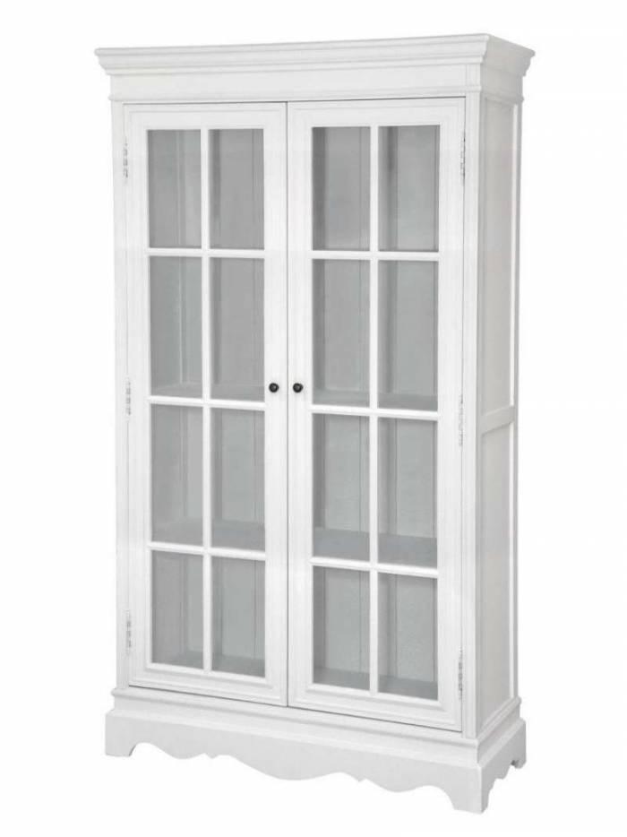Vitrină înaltă Alexander, 184x107x40 cm, lemn de plop/ mdf/ metal, alb