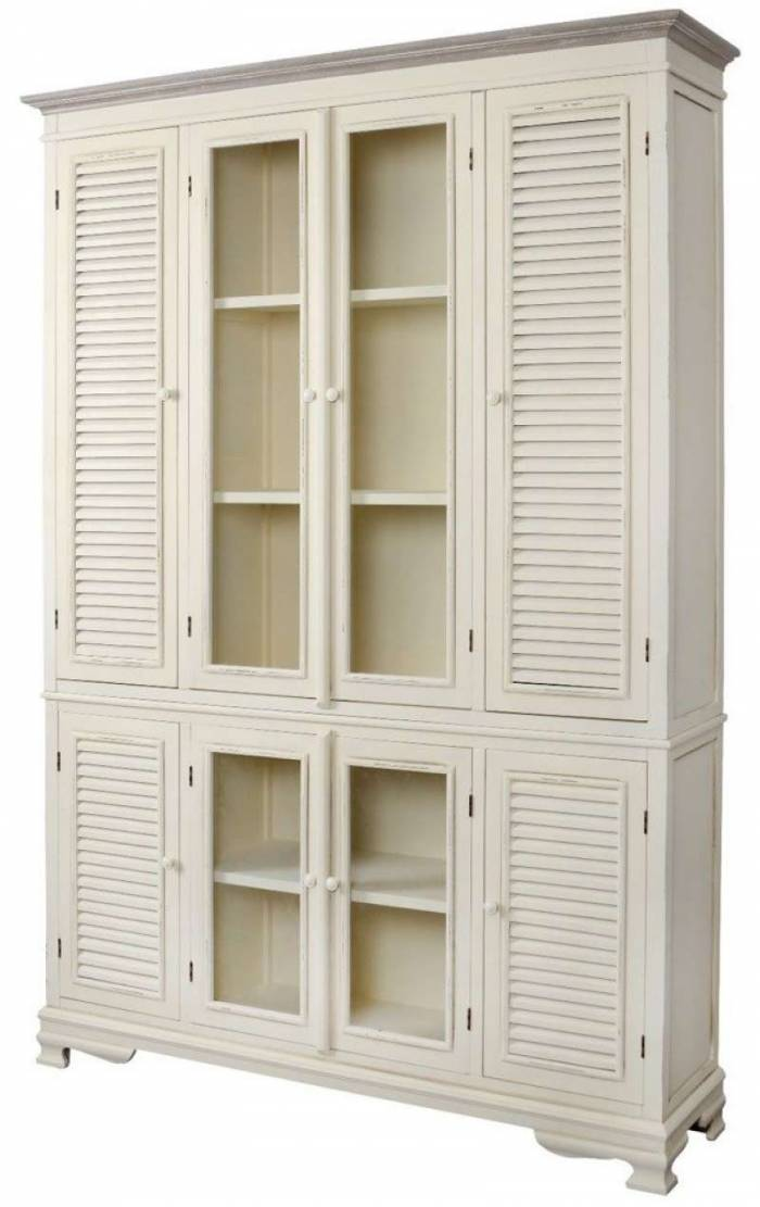 Vitrină înaltă cu patru uși Cleopatra , 200x142x37 cm, lemn de plop/ mdf/ metal, crem/ maro deschis