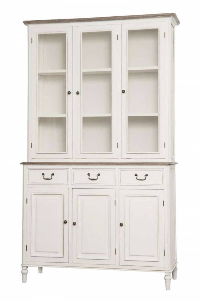 Vitrină stil clasic cu trei uși Collin, 200x120x45 cm, lemn de plop/ mdf/ metal/ sticla, alb/ maro