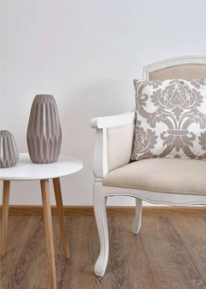 Scaun stil clasic Eusebio, 96x62x62 cm, lemn de plop/ material textil, alb/ crem