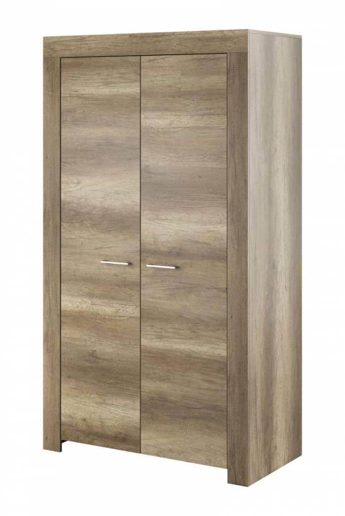 Șifonier cu uși Iraida, 197x110x54 cm, pal/ plastic, gri