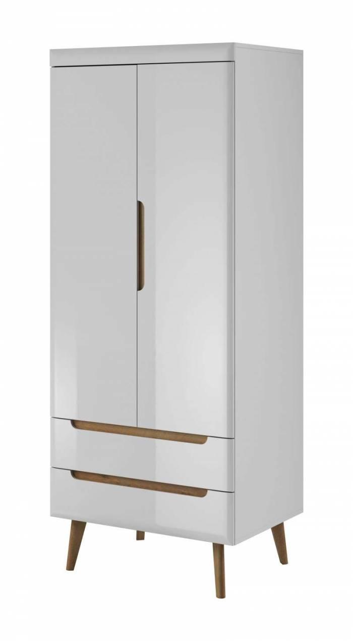 Șifonier cu uși și sertare Alix, 197x80x56 cm, pal/ mdf/ lemn de stejar, maro/ alb