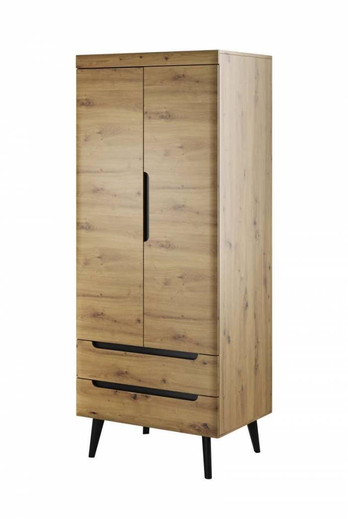 Șifonier cu uși și sertare Alix, 197x80x56 cm, pal/ mdf/ lemn, maro/ negru