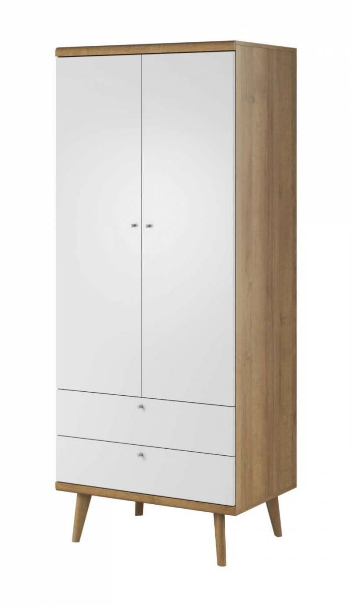 Șifonier cu uși și sertare Andera, 197x80x56 cm, pal/ mdf/ lemn de stejar/ aluminiu, maro/ alb