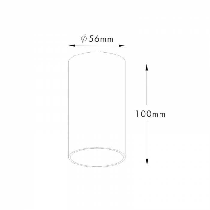 Spot cilindric Margo, 10x5,6x5,6 cm, aluminiu, alb