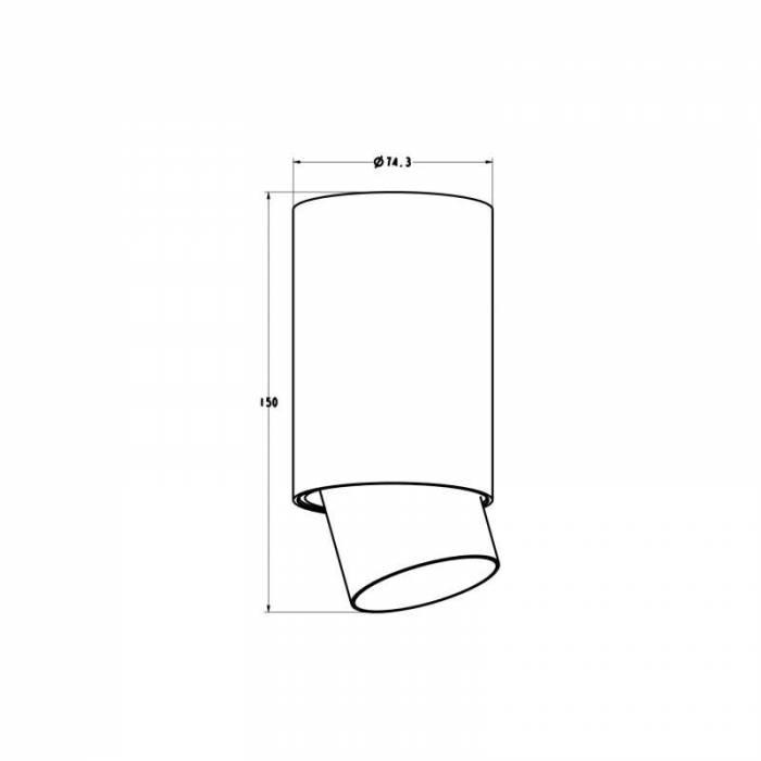 Spot Fran, 15x7,5x7,5 cm, aluminiu, negru