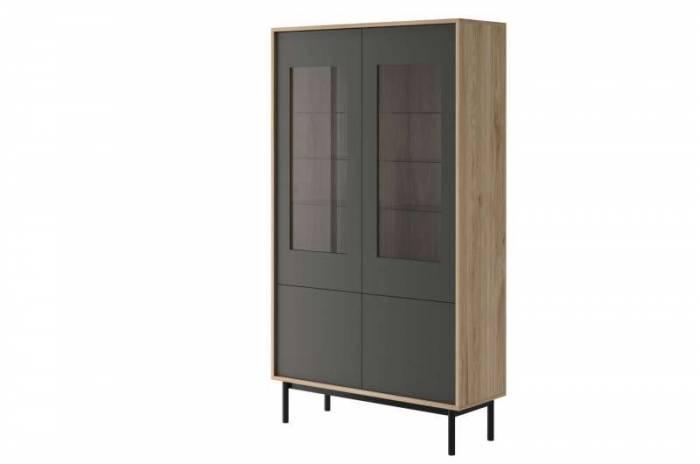 Vitrină înaltă cu două uși Caron, 185x104x39 cm, pal/ lemn/ sticla, maro/ gri