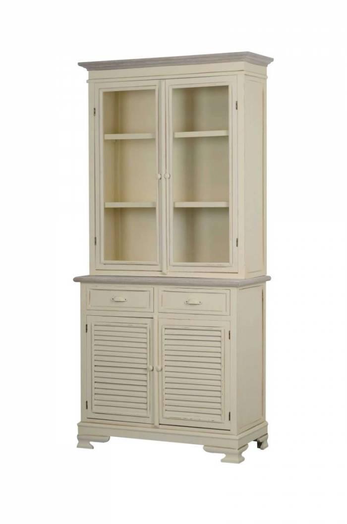 Vitrină living cu două uși Cleopatra , 190x90x40 cm, lemn de plop/ mdf/ metal, crem/ maro deschis