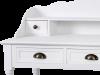 Birou stil clasic cu patru sertare și două rafturi Alexander, 101x80x48 cm, lemn de plop/ mdf/ metal, alb