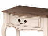 Birou stil clasic cu trei sertare și raft Ebonie, 55x80x96 cm, lemn de arbore de cauciuc/ furnir/ metal, ivoire/ maro