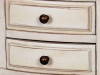 Noptieră cu două sertare Ebonie, 76x34x30 cm, lemn de arbore de cauciuc/ furnir/ metal, ivoire/ maro