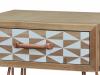 Noptieră cu sertar Amiee, 50x30x40 cm, lemn de brad/ metal, maro deschis/ alb