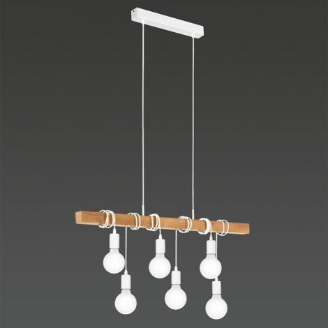Lustră pendul cu 6 brațe Townshend,  E27 6X60W, metal/lemn, alb/maro