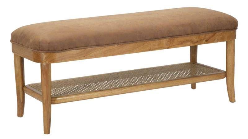 Banchetă tapițată Vienna, 45x112x40 cm, lemn de arbore de cauciuc/ microfibra, maro poza