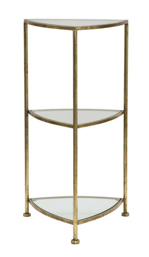 Etajeră Triangle, 80,5x41,5x40 cm, metal/ sticla, auriu poza