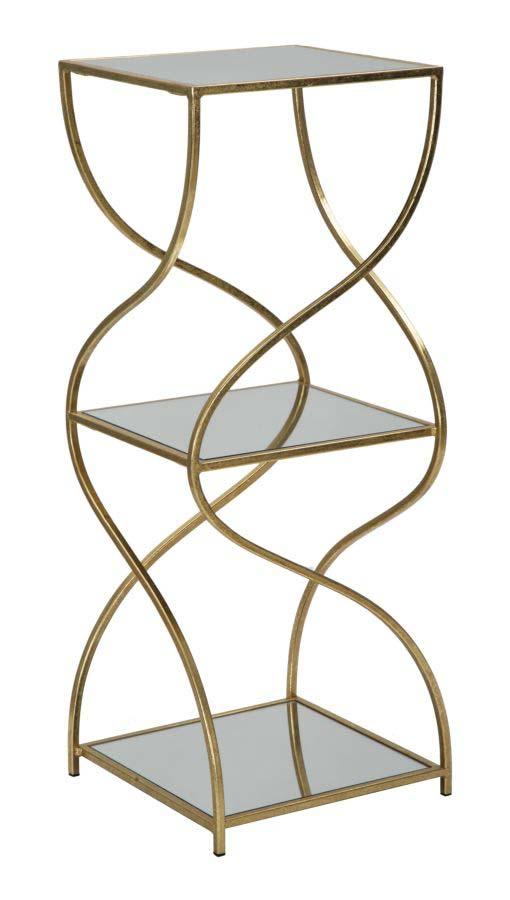 Etajeră Twisty, 80x30x30 cm, metal/ mdf/ sticla, auriu poza