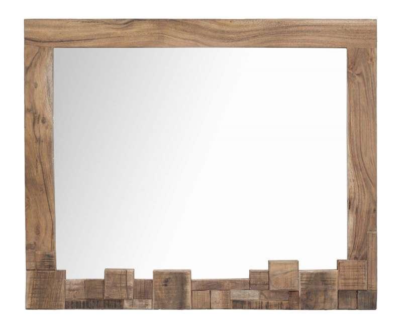 Oglindă Mumbai, 75x90x2,5 cm, lemn de acacia/ metal, maro/ negru poza