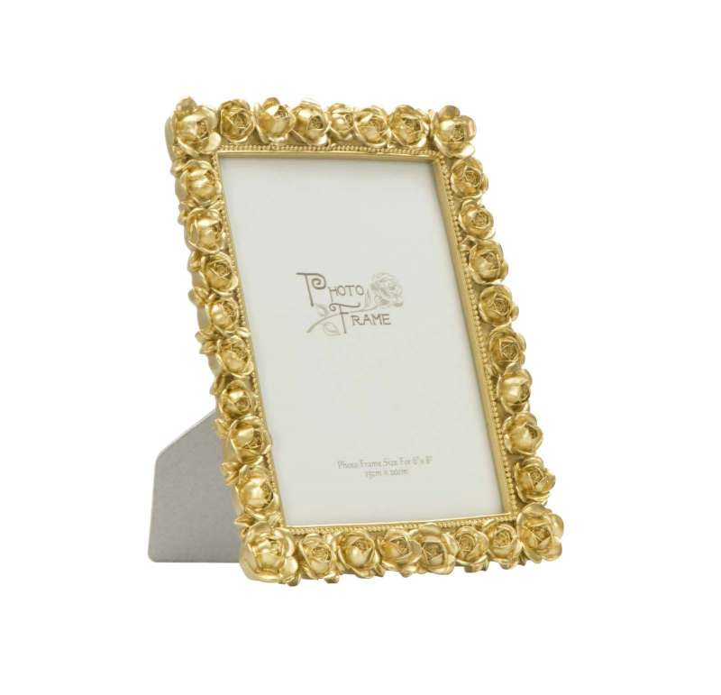 Ramă foto Rose Glam, 25.5x20.4x2.5 cm, polirasina/ sticla, auriu