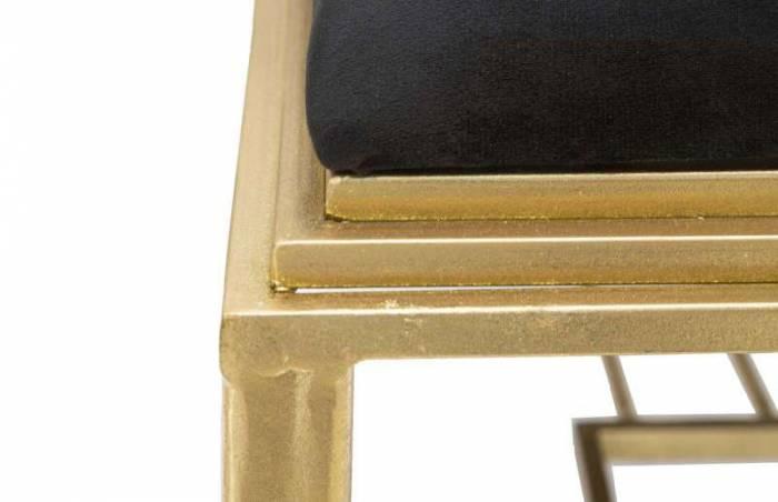 Banchetă tapițată Roman, 45x120x40 cm, metal/ mdf/ poliester, auriu/ negru