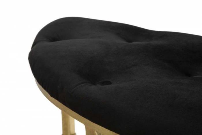 Banchetă tapițată Royal, 48x120x40 cm, metal/ mdf/ poliester, auriu/ negru