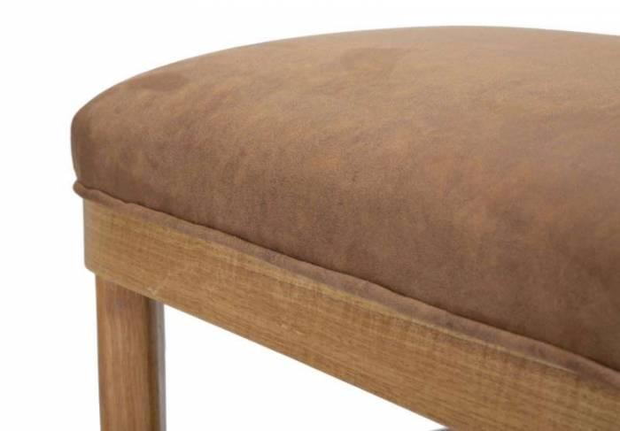 Banchetă tapițată Vienna, 45x112x40 cm, lemn de arbore de cauciuc/ microfibra, maro