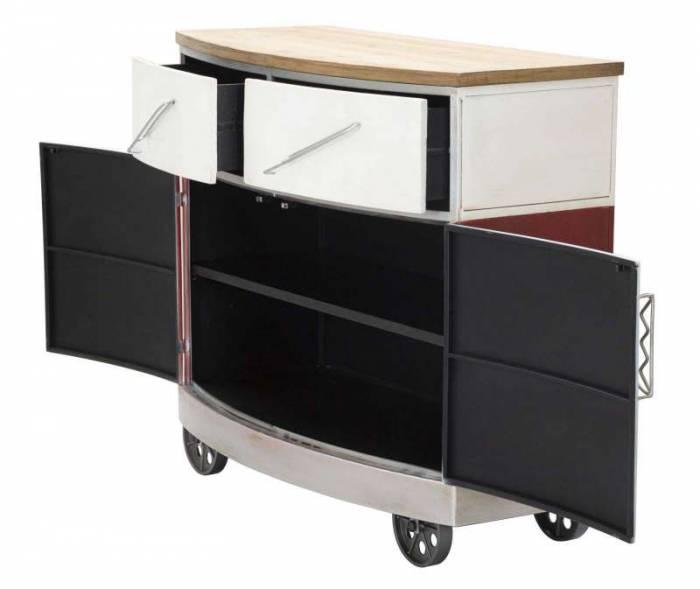 Bufet Van, 81x90x42 cm, lemn de brad/ mdf/ metal, rosu/ alb