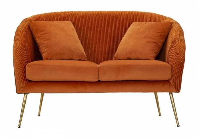 Canapea tapițată Budapest, 80x120x72 cm, lemn de pin/ poliester/ metal, portocaliu/ auriu