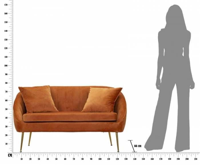 Canapea tapițată Venice, 78x136x66 cm, lemn de pin/ poliester/ metal, portocaliu/ auriu